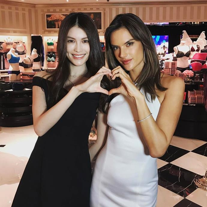"""Sui He and Alessandra Ambrosio sent their love from the new store in Chengdu. <br><br> Image: <a href=""""https://www.instagram.com/p/BRcalqiB42u/"""">@alessandraambrosio</a>"""