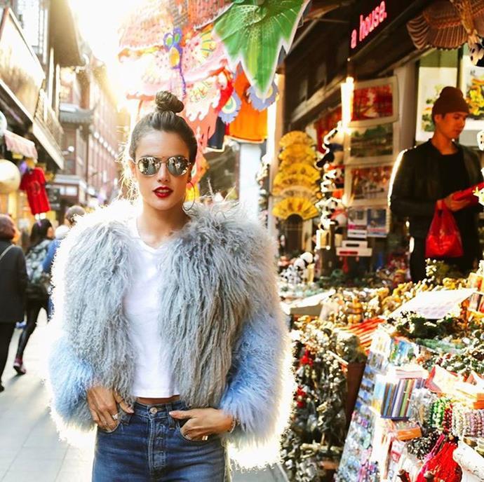 "Alessandra Ambrosio hit the street market. <br><br> Image: <a href=""https://www.instagram.com/p/BRhBMclBIOV/"">@alessandraambrosio</a>"
