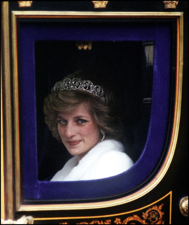 Attending the Opening of Parliament in London in 1982, wearing the Spencer Tiara.