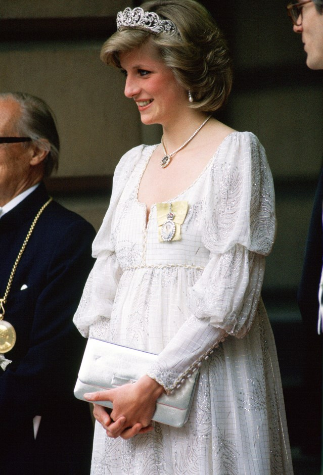 Attending the Royal Academy in the Spencer Tiara in 1984.