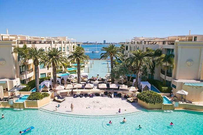 "<a href=""http://www.palazzoversace.com.au/en/wellbeing/pool-salon-at-palazzo-versace-gold-coast-hotel.html"" target=""_blank""><strong>The Palazzo Versace, Gold Coast</strong></a> <br><br> This hotel's Water Salon is an 'exotic poolside oasis' that features a 63-metre pool and its own small sandy beach."
