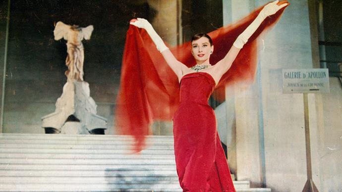 <p>Hubert de Givenchy for <em>Funny Face (1957)</em><p> Likewise, Hepburn herself tapped Givenchy to design the gowns for <em>Funny Face</em>.