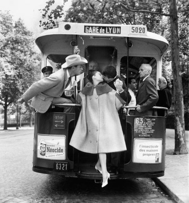 "Audrey Hepburn, Mel Ferrer and Buster Keaton, in ""Paris Pursuit"" for <em>Harper's Bazaar</em>, Paris, August 9, 1959"