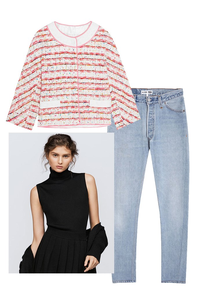 """Clockwise:<br><a href=""""https://www.net-a-porter.com/au/en/product/793364"""">Jacket, $798, Boutique Moschino at Net-A-Porter</a><br><a href=""""https://www.mychameleon.com.au/slim-straight-jean-p-5124.html?typemf=women"""">Jeans, $389, Re/Done at MyChameleon</a><br><a href=""""http://www.uniqlo.com/au/store/w-s-sweater-1736070024.html?utm_source=bauer&utm_medium=article&utm_campaign=16AW_knitwear&utm_content=harpers#colorSelect"""">Knit, $39.90, UNIQLO</a>"""