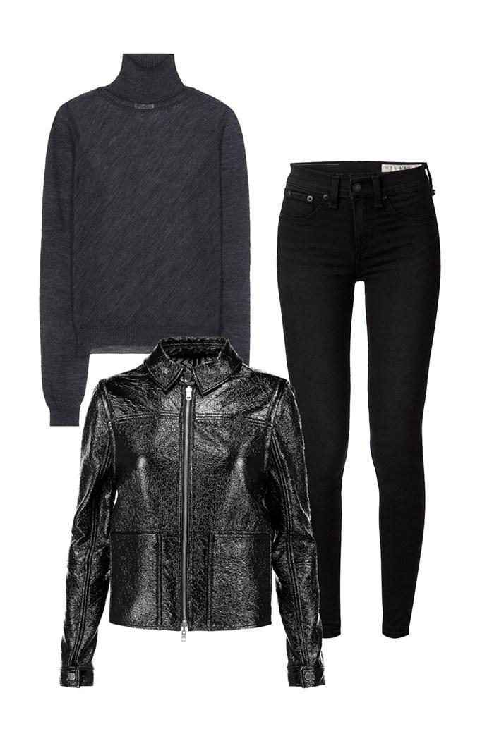 "Clockwise:<br> <a href=""http://www.mytheresa.com/en-au/taci-sheer-alpaca-blend-turtleneck-sweater-640510.html"">Sweater, $348, Acne Studios at Mytheresa.com</a> <br> <a href=""https://www.farfetch.com/au/shopping/women/items.aspx?ffref=ns_10968985"">Jeans, $185, Rag & Bone at Farfetch</a> <br> <a href=""https://www.theoutnet.com/en-AU/Shop/Product/Tory-Burch/Fae-faux-patent-leather-jacket/855205"">Jacket, approx. $158, Tory Burch at The Outnet</a>"