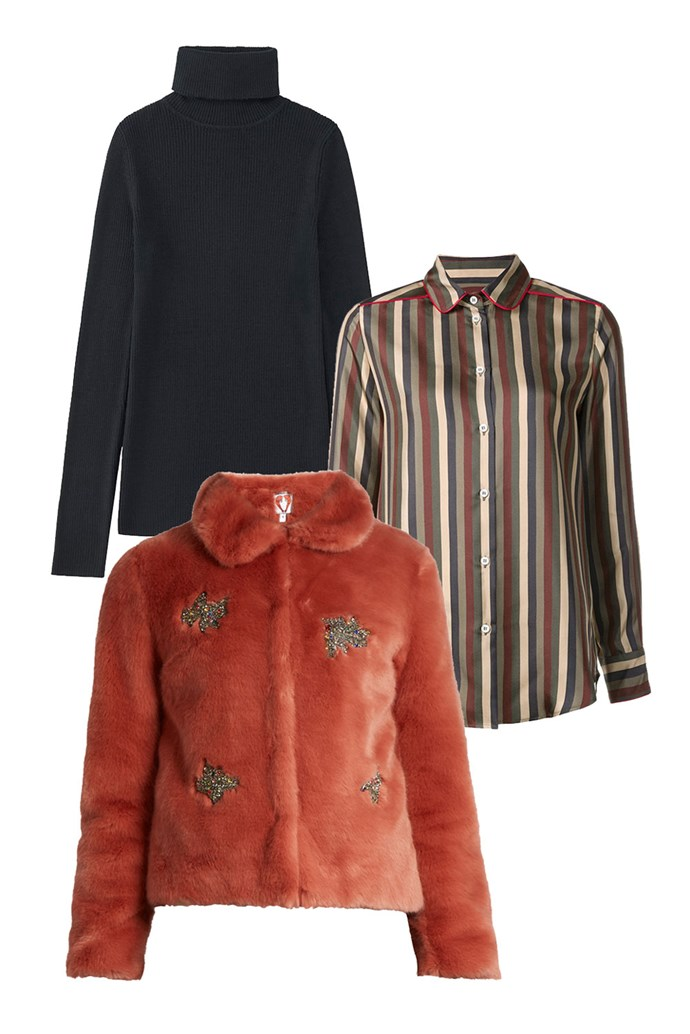 """Clockwise:<br><a href=""""http://www.uniqlo.com/au/store/women-extra-fine-merino-ribbed-turtle-neck-sweater-1754190061.html#colorSelect"""">Sweater, $39.90, UNIQLO</a><br><a href=""""https://www.farfetch.com/au/shopping/women/f-r-s-for-restless-sleepers--leda-striped-shirt-item-11743628.aspx"""">Shirt, $1,869, F.R.S. at Farfetch</a><br><a href=""""http://www.matchesfashion.com/au/products/1080779"""">Jacket, $765, Shrimps at Matches Fashion</a>"""