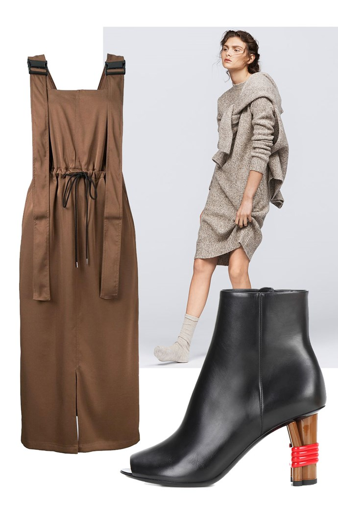 """Clockwise:<br><a href=""""https://www.farfetch.com/au/shopping/women/g-v-g-v--twill-utility-pinafore-dress-item-11819309.aspx"""">Dress, $436, G.V.G.V. at Farfetch</a><br><a href=""""http://www.uniqlo.com/au/store/women-mix-yarn-knit-long-sleeve-dress-1870860001.html?utm_source=bauer&utm_medium=article&utm_campaign=16AW_knitwear&utm_content=harpers"""">Sweater Dress, $59.90, UNIQLO</a><br><a href=""""http://www.mytheresa.com/en-au/bistrot-leather-peep-toe-ankle-boots-724045.html?catref=category"""">Boots, $1,440, Balenciaga at Mytheresa.com</a>"""