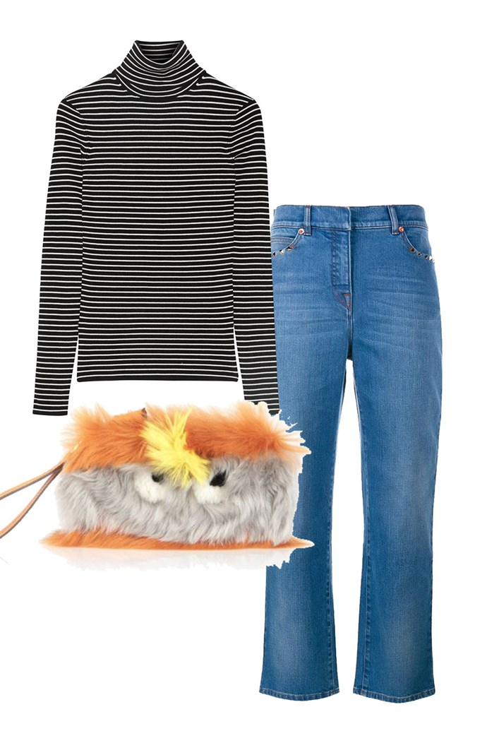 "Clockwise:<br><a href=""https://www.net-a-porter.com/au/en/product/853293"">Sweater, $289, La Ligne at Net-A-Porter</a><br><a href=""https://www.brownsfashion.com/au/shopping/Rockstud-boyfriend-jeans-11492227"">Jeans, $1,640, Valentino at Browns Fashion</a><br><a href=""https://www.modaoperandi.com/anya-hindmarch-fw17/sunset-furry-shearling-eyes-clutch?size=OS"">Clutch, approx. $1,057, Anya Hindmarch at Moda Operandi</a>"