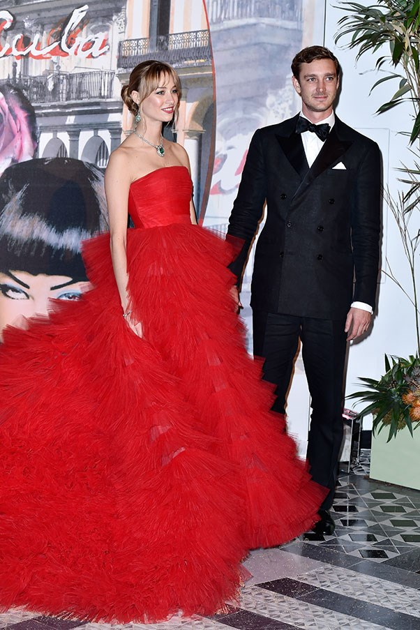 With husband Pierre Casiraghi at the Rose Ball, March 2016.