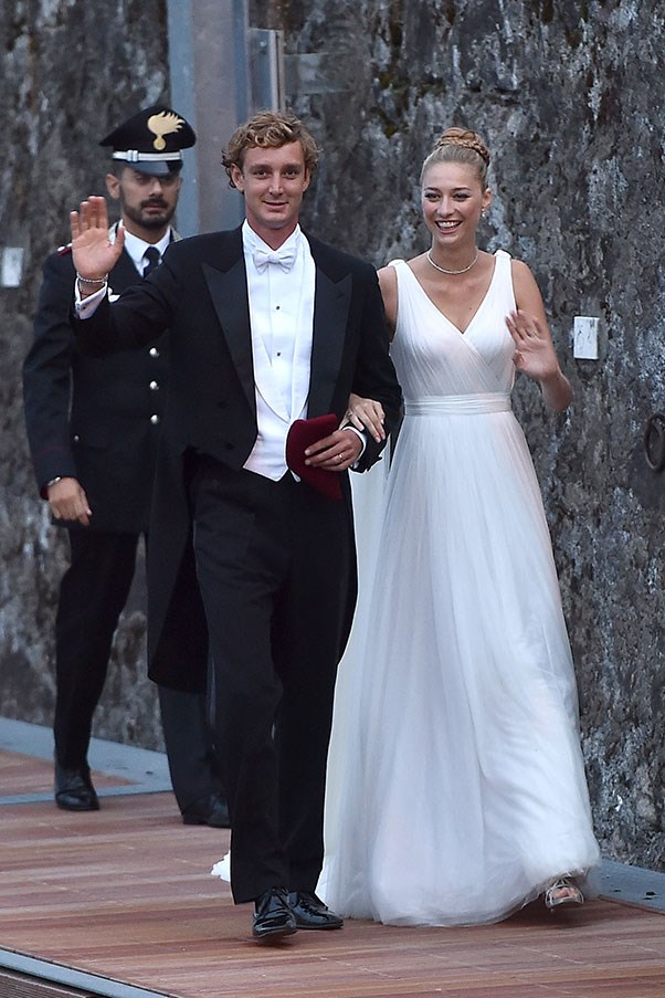 In Valentino at her wedding to Pierre Casiraghi, August 2015.
