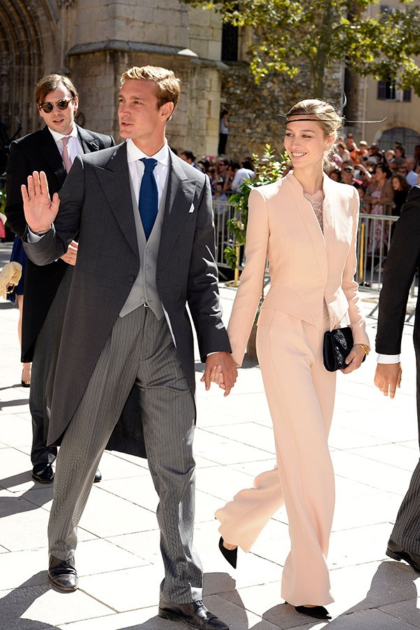 With husband Pierre Casiraghi at the wedding of Prince Félix of Luxembourg, March 2014.