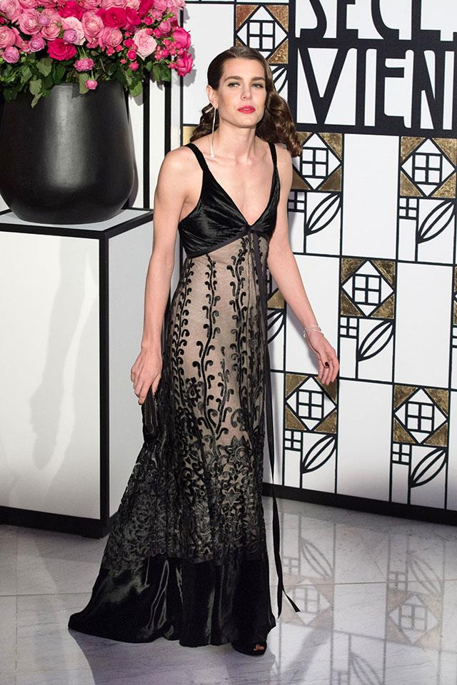 At Monaco's night of nights, The Rose Ball, wearing vintage Chanel.