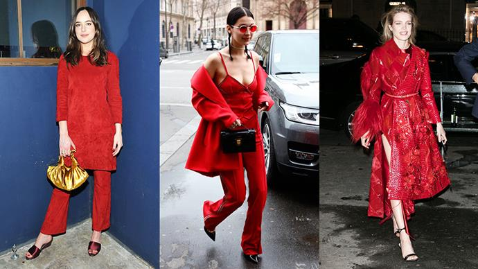 Bella Hadid, Dakota Johnson and Sienna Miller are among the A-listers adopting the 'fire engine red' fashion trend. Here, proof you should be embracing it too.