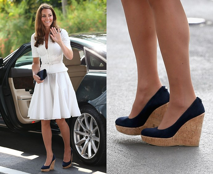 "**Thou shalt never wear wedges in front of the Queen** Kate has been seen plenty of times wearing wedges—this Stuart Weitzman pair is a common sight in her wardrobe—but Kate won't wear wedges when at an event with the Queen. ""The Queen isn't a fan of wedged shoes. She really doesn't like them and it's well known among the women in the family,"" a royal source told *[Vanity Fair](http://www.vanityfair.com/style/2015/07/kate-middleton-heel-insoles-alice-bow-queen-wedges