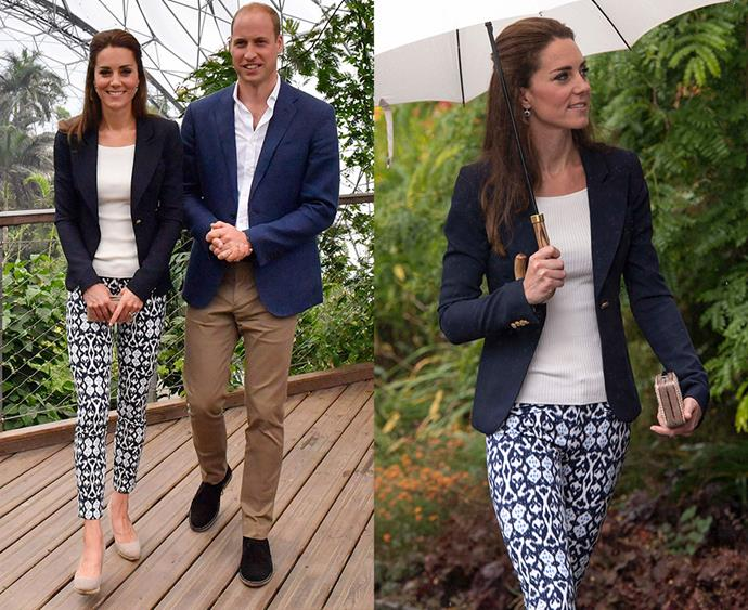 "**Thou shalt avoid wearing trousers**  This one is not so much a hard-and-fast royal rule, so much as a pattern we've noticed. If she's not sporting her usual dresses or coats (paired with tights if it's cold), Kate's go-to casual look includes jeans—which she wears for outdoor and sport-related engagements. But, funnily enough, you probably won't ever see Kate wearing trousers (to date, she's only worn two pairs, the GAP pair here, and a [J.Crew pair](http://www.harpersbazaar.com.au/celebrity/kate-middleton-j-crew-trousers-13477|target=""_blank""))."