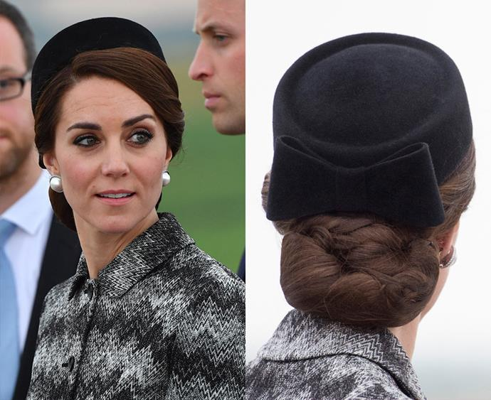 **Thou shalt keep thy hair together with a hairnet** Having her immaculately styled up-dos unravel while she's out and about wouldn't be very royal, meaning that Kate usually has her buns or braids wrapped in a fine, almost invisible, hairnet to keep everything in place. Sneaky.