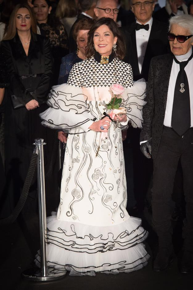 In Chanel couture at the 2017 Rose Ball.