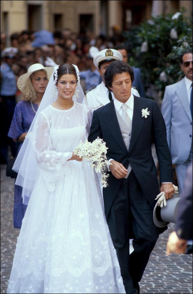 At her wedding to Philippe Junot in 1978, wearing Marc Bohan for Christian Dior.