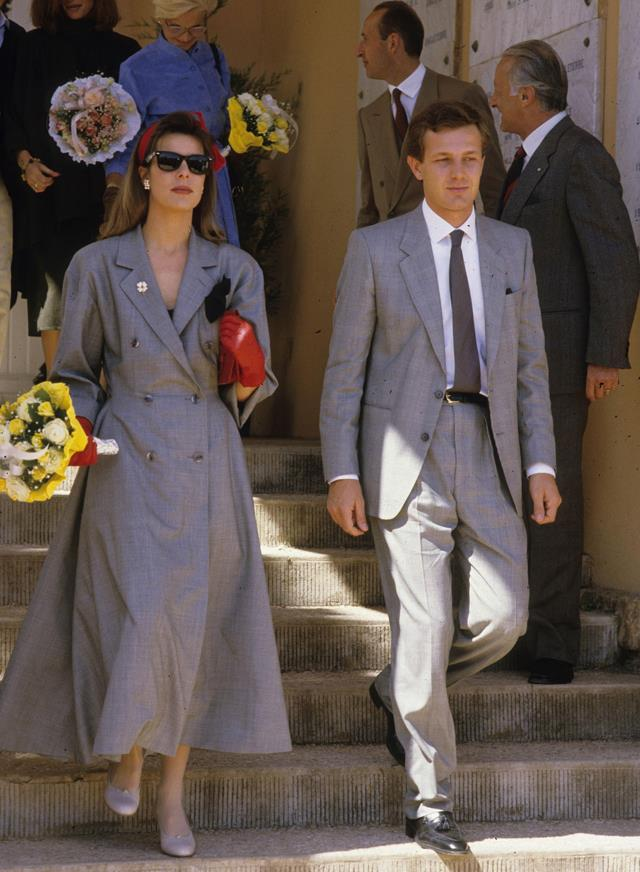With her husband Stefano Casiraghi in 1985.