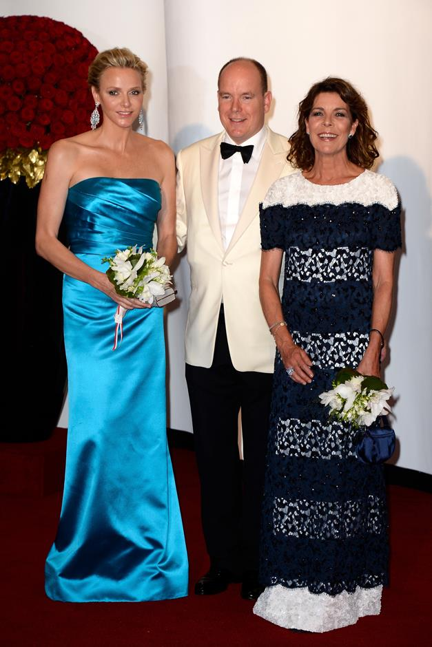 With Prince Albert and his wife, Princess Charlene, at the 65th Monaco Red Cross Ball Gala.