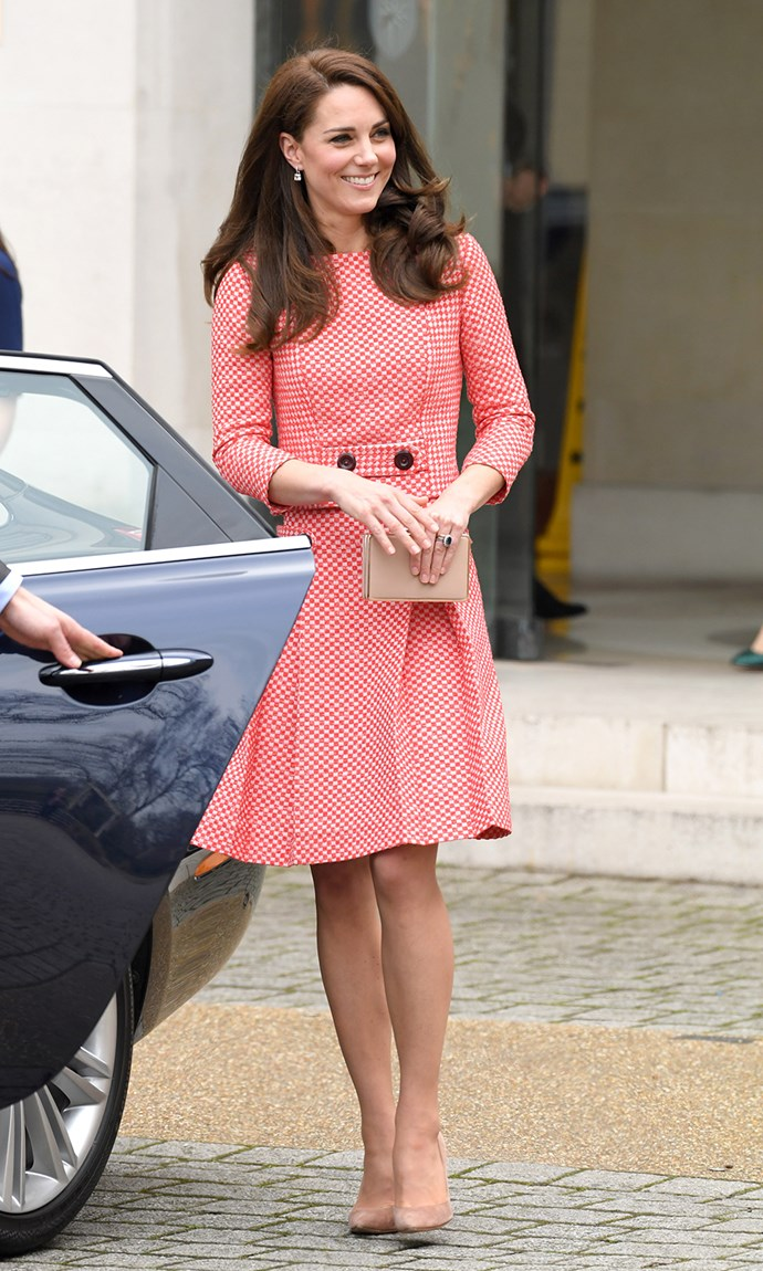 <strong>March 23, 2016</strong> <br><br> Kate stepped out to attend the Launch of Maternal Mental Health Films in London wearing a red-and-white gingham two-piece by Eponine.