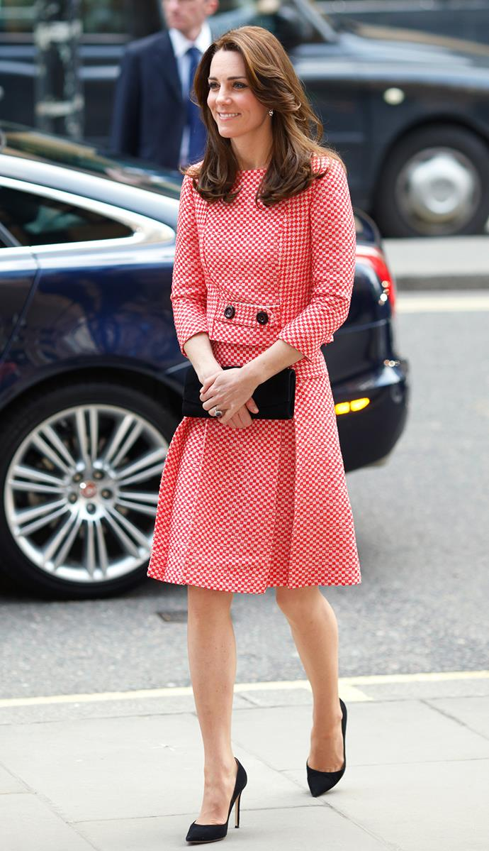 <strong>March 11, 2016</strong> <br><br> The Duchess had previously worn the outfit to see a mentoring program in 2016, where she paired it with black pumps and a black clutch.