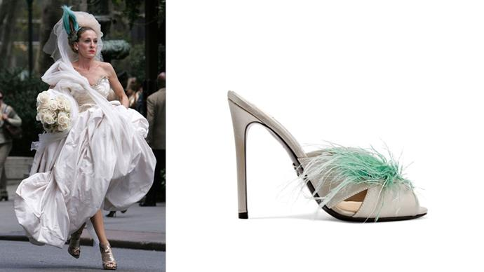 "Shoes, $1,070, Prada at <a href=""https://www.net-a-porter.com/au/en/product/860764/prada/feather-embellished-satin-mules"">Net-A-Porter</a>."