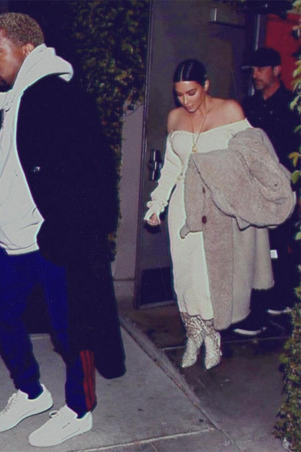 "Kim wore a Céline dress, Off-White coat and Christian Louboutin boots on a date night with husband Kanye West.<br><br> Image: Instagram <a href=""https://www.instagram.com/p/BSJ9V4SjYzK/?taken-by=kimkardashian&hl=en"">@kimkardashian</a>"