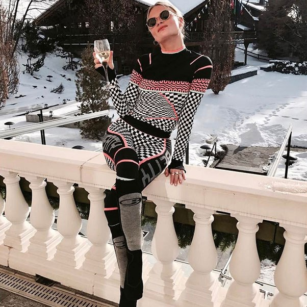 <strong>Pandora Sykes</strong><br><br> The British editor wore activewear label Sweaty Betty during a recent trip to Switzerland (glass of wine in-hand, obviously).