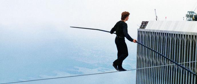 <strong>Man on Wire (2008)</strong> <BR><BR> <strong>What kind?</strong> Biography <BR><BR> <strong>What's it about?</strong> A look at tightrope walker Philippe Petit's illegal stunt between the twin towers in 1974.