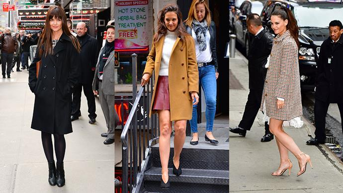 Katie Holmes knows that a statement coat can elevate an outfit to new sartorial heights. Here, we round-up her 7 best coat moments.