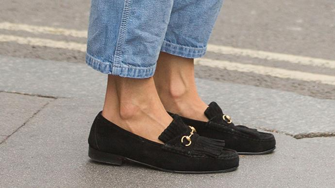 <strong>The Gucci loafers<strong><br><br> The Queen has long known the value of Gucci loafers, often pairing them with her midi-length pleated skirts and headscarves. Twenty years on, the fashion world has caught up - its latest backless incarnation are seen on the feet of countless editors every fashion week.