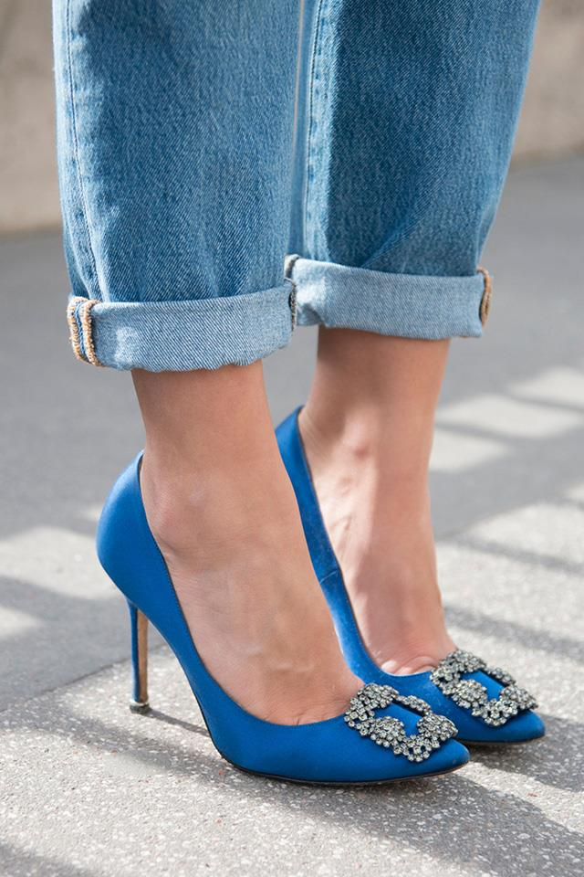 <strong>The Manolo Blahnik pumps<strong><br><br> Manolo Blahnik's decorative court shoes have become a go-to for women who want to dress up their look without trying hard. It's a true classic.