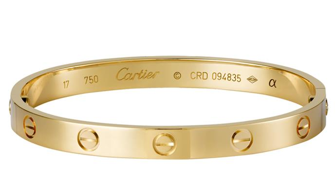 <strong>The Cartier Love bracelet<strong><br><br> Born in the '70s, Cartier's love bracelet is a subtle yet feminine jewellery piece that never upstages an outfit, adding an understated elegance.
