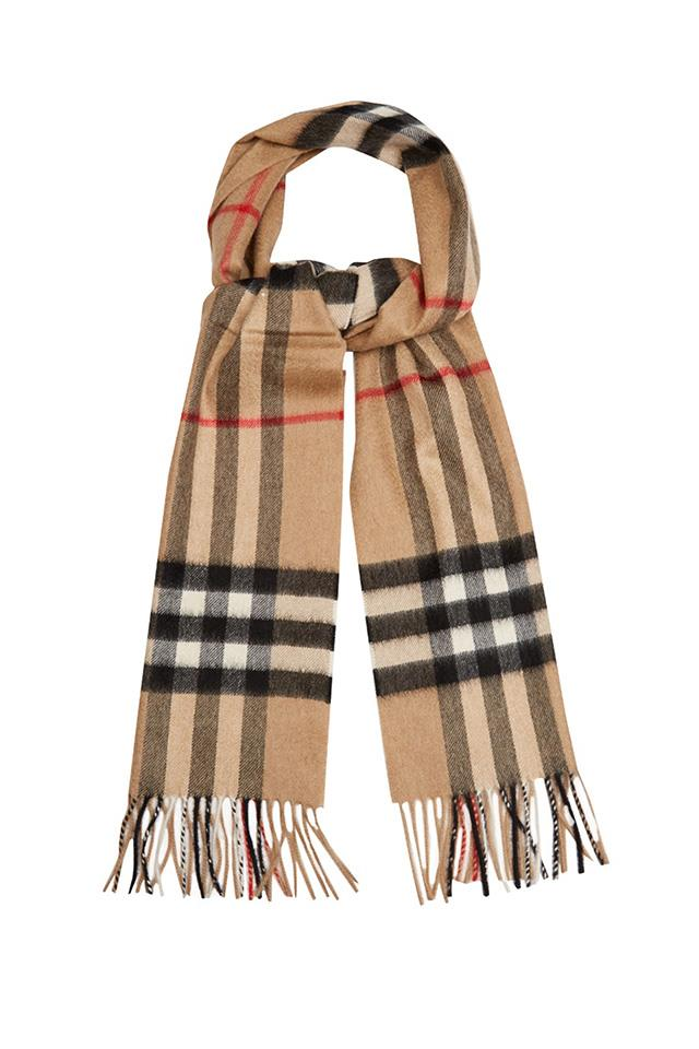 <strong>The Burberry scarf<strong><br><br> Burberry's signature check is famed the world over, and its scarf - perhaps due to its accessibility - is still one of its more popular pieces.