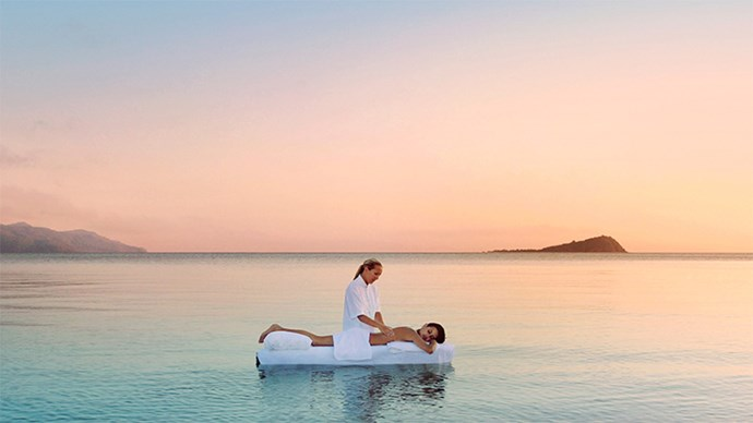 "<strong>One&Only Hayman Island, QLD</strong> <BR><BR> While we're pretty sure this photo is all the convincing you need, as well as massages in the middle of the Great Barrier Reef, the resort offers rainforest massages, 12 treatment suites, a dry heat sauna and a cool plunge pool. <BR><BR> Find out more <a href=""https://www.oneandonlyresorts.com/one-and-only-hayman-island-australia/"">here</a>."