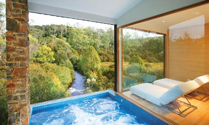 """<strong>Cradle Mountain Lodge, TAS</strong> <Br><BR> Ranked in <em>Lonely Planet</em>'s Top 10 Most Extraordinary Places To Stay, Peppers Cradle is the ultimate escape. The Waldheim Alpine Spa not only overlooks the Tasmanian forest, but is filled with a steam room, sauna, hot-tub and cool plunge pool. <BR><BR> Find out more <a href=""""http://www.peppers.com.au/cradle-mountain-lodge/?gclid=Cj0KEQjw2fLGBRDopP-vg7PLgvsBEiQAUOnIXGWXMeCl4x-sliFri-4UYNVKg6MsrNT6cbhS-IDtB1caAgBB8P8HAQ&gclsrc=aw.ds"""">here</a>."""