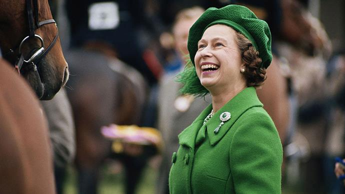 <strong>EMERALD BERET</strong> <p><p> Find someone who looks at you the way Queen Elizabeth II (decked out in a striking feathered green beret) looked at this decorated Thoroughbred in the 1980 Royal Windsor Horse Show.