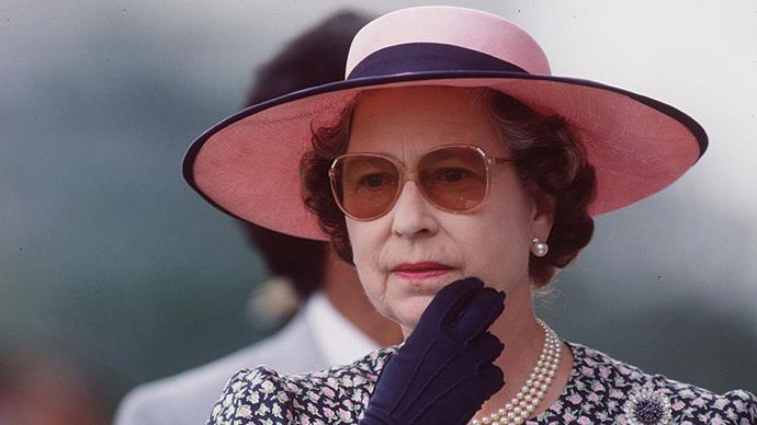 <strong>PINK LADY</strong> <p><p> On a visit to the Selangor Turf Club in Malaysia in 1989, the Queen blocked out the sun with a wide-brimmed pink straw hat and matching rose sunglasses.