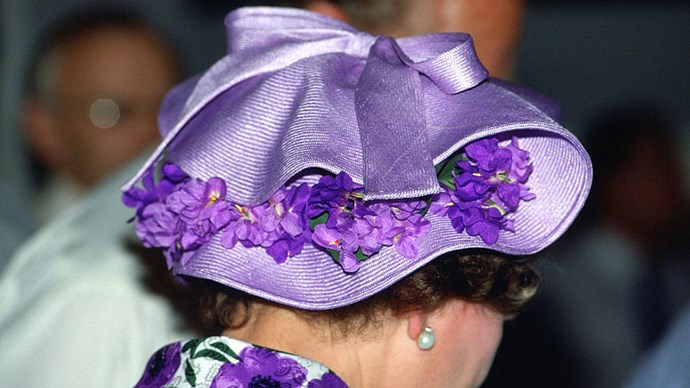 <strong>PURPLE VIOLET</strong> <p><p> Philip Somerville, the Queen's go-to-milliner, received a Royal Warrant - an esteemed honor - for his many designs made for the Queen, Princess Diana and  Kate Middleton, Duchess of Somerville's fine, innovative work.