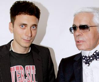 Hedi Slimane and Karl Lagerfeld