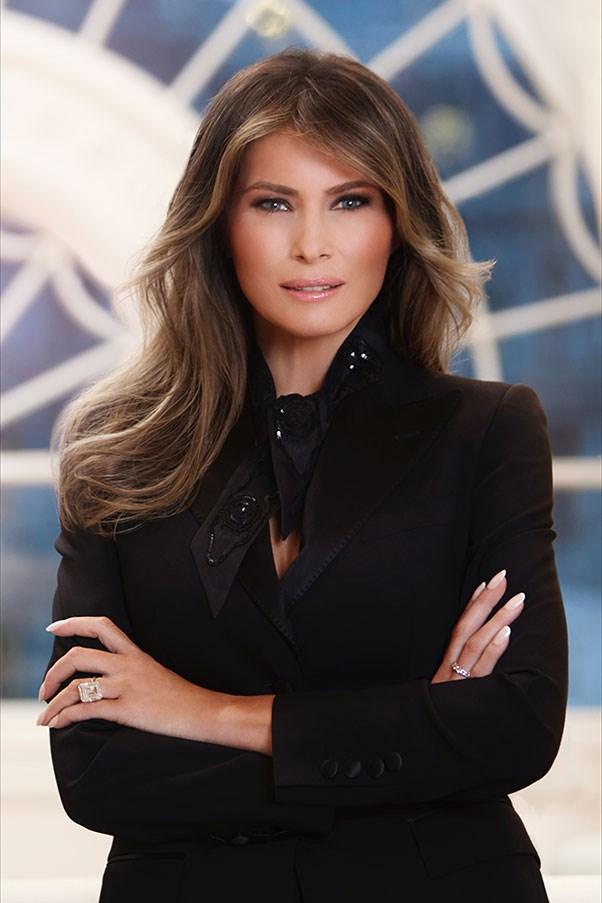 The First Lady courted controversy when she didn't wear an American designer in her first official White House portrait. Instead, she opted for a Dolce & Gabbana blazer and Hermès neck scarf.