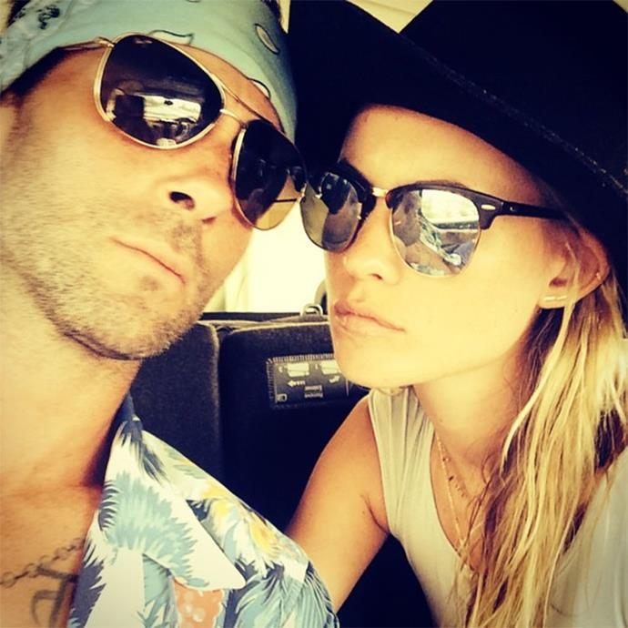 "<strong>Adam Levine and Behati Prinsloo</strong> <br><br> After tying the knot in Mexico, Adam Levine and Behati Prinsloo reportedly went to South Africa for their honeymoon, where they snapped this relaxed, matching selfie. <br><br> Image: <a href=""https://www.instagram.com/p/rSpwPjqjSP/?modal=true"">@adamlevine</a>"