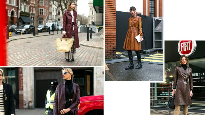 <strong>11. BACK TO BROWN</strong> <p><p> There's a smart '70s vibe that comes when a leather trench is rendered in classic brown.