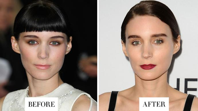 <strong>ROONEY MARA</strong> <p><p> Mara's nearly-black and lightly arched brows are now much fuller and straighter.