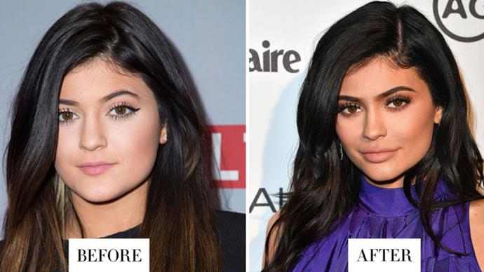 <strong>KYLIE JENNER</strong> <p><p> Jenner's eyebrows change shape by the minute (it's all about how you apply your brow product). Here, she elongated them toward the inner corners, which changes her whole face shape.