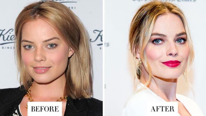 <strong>MARGOT ROBBIE</strong> <p><p> Even though Robbie's brows before weren't super-thin, her brows are fluffier and less defined.