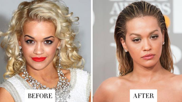 <strong>RITA ORA</strong> <p><p> Ora's brows are significantly lighter and less severely arched than they were when she first hit the music scene.