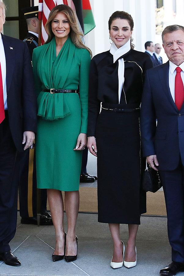 Melania Trump wore a kelly green dress while meeting Queen Raina of Jordan.