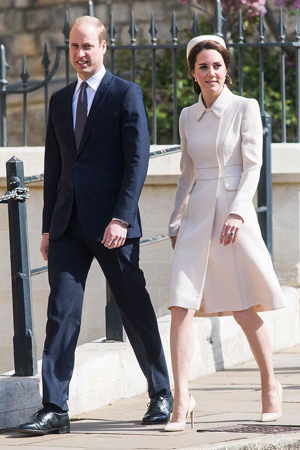 The Duchess opted for a cream Catherine Walker coat dress and a pillbox hat to attend an Easter service with husband Prince William.